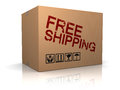 Free shipping d illustration of cardboard box with sign Stock Photo