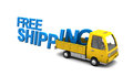 Free shipping d illustration of yellow truck with sign over white background Stock Images