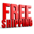 Free shipping d text on white background Royalty Free Stock Photography