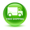 Free shipping glassy green round button Royalty Free Stock Photo