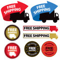 Free shipping icon a set of images of with trucks and arrows and labels Stock Photo