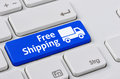 Free shipping a keyboard with a blue button Stock Photos