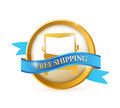 Free shipping seal illustration design over a white background Stock Image