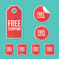 Free shipping sticker. Transport cost delivery no charge. Modern flat design, red color tag. Advertising promotional Royalty Free Stock Photo