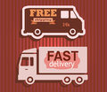 Free shipping with truck icons set of delivery badges labels signs collection illustration vector on brown background Stock Photos
