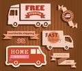 Free shipping with truck icons set of delivery badges labels signs collection illustration vector on brown background Stock Photo
