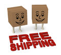 Free shipping two carton boxes with legs and smiling faces and text d render Royalty Free Stock Photos