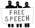 Free speech illustration of men protesting for Royalty Free Stock Photo
