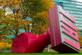 Free stamp cleveland oh october the sculpture created by claes oldenburg and coosje van bruggen has intrigued visitors at its Stock Photography