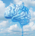 Free thinking lifestyle concept with a human brain organ floating in the sky with clouds representing fresh intelligent creative Royalty Free Stock Photography