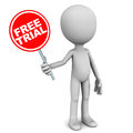 Free trial software service or product concept little d man holding red banner Stock Images