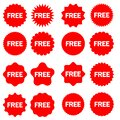 Free vector icons set. Red badge sticker illustration sign collection. Promotion and advertising. Royalty Free Stock Photo