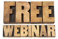 Free webinar in wood type internet communication concept a collage of isolated words vintage letterpress printing blocks Royalty Free Stock Images