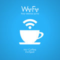 Free wifi cafe poster blue Royalty Free Stock Photography