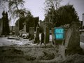Free wifi cemetery with sign in black and white old style Royalty Free Stock Photo