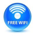 Free wifi glassy cyan blue round button