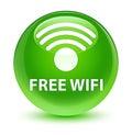 Free wifi glassy green round button