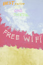 Free wifi sign on grunge background red Royalty Free Stock Photos