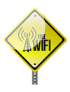 Free wifi yellow diamond sign illustration design over white Royalty Free Stock Image