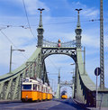 Freedom Bridge, Budapest, Hungary with tram Stock Photography