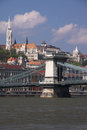 Freedom bridge view of the and fisherman s bastion in budapest hungary Royalty Free Stock Photo