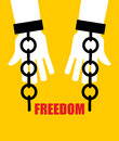 Freedom. Broken fetters. Liberation from slavery. Broken chain h Royalty Free Stock Photo