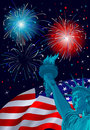 Freedom celebration patriotic poster with the statue of liberty Royalty Free Stock Photo