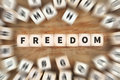 Freedom free independent independence financial life dice busine Royalty Free Stock Photo