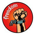Freedom hand torn chain icon symbol circle emblem