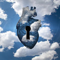 Freedom key heart with in clouds Royalty Free Stock Images