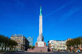 Freedom monument in riga of center of latvia Royalty Free Stock Photos