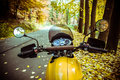 Freedom motorbike riding adventure steering wheel with view of autumn road Stock Images