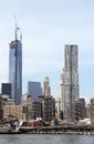 Freedom tower and beekman tower in lower manhattan new york may on may is the tallest all residential building Stock Photos