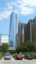 Freedom tower i lower manhattan Arkivfoton