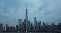 Freedom tower nyc financial district of at sunset from hudson river Royalty Free Stock Photo