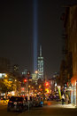 Freedom Tower and Tribute Lights Seen in West Village Royalty Free Stock Photo
