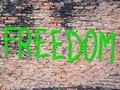 Freedom word on the wall Stock Image