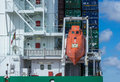 A freefall lifeboat on a container ship Royalty Free Stock Photo