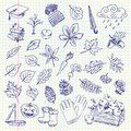Freehand drawing autumn items on a sheet of exercise book vector illustration set Royalty Free Stock Photography