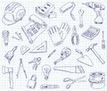 Freehand drawing building materials on a sheet of exercise book vector illustration set Royalty Free Stock Photo