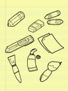 Freehand drawing drawing tools set on yellow pad Royalty Free Stock Photos