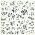 Freehand drawing high calorie food on a sheet of exercise book vector illustration set Royalty Free Stock Image