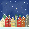 Freehand drawing of old colourful buildings in winter Amsterdam Royalty Free Stock Photo