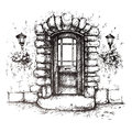 Freehand drawing of old front door vector Stock Images
