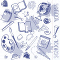 Freehand drawing school items on a sheet of exercise book. Stock Photography