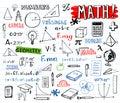 School mathematics doodles, vector set Royalty Free Stock Photo