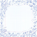 Freehand drawing school stationery items on sheet of exercise book Royalty Free Stock Photo