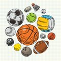 Freehand drawing sport balls vector illustration set Royalty Free Stock Photos