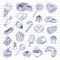 Freehand drawing sweetness items on a sheet of exercise book vector illustration set Royalty Free Stock Images
