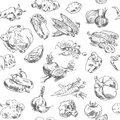 Freehand drawing vegetables seamless pattern vector illustration isolated on white background Stock Image